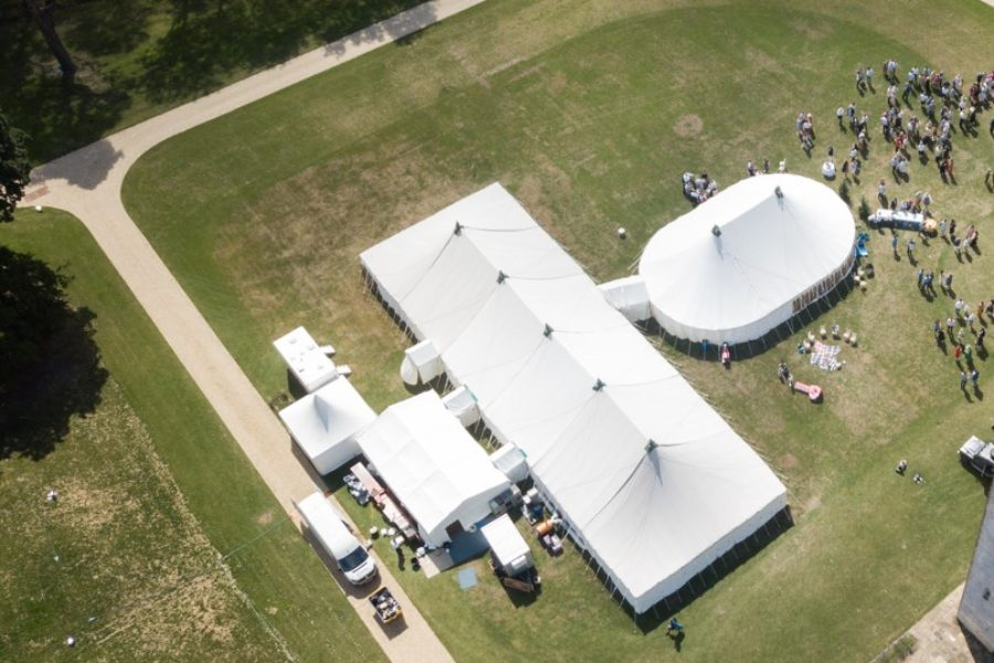 Aerial of oval marquee joined to 100'x40' (2)