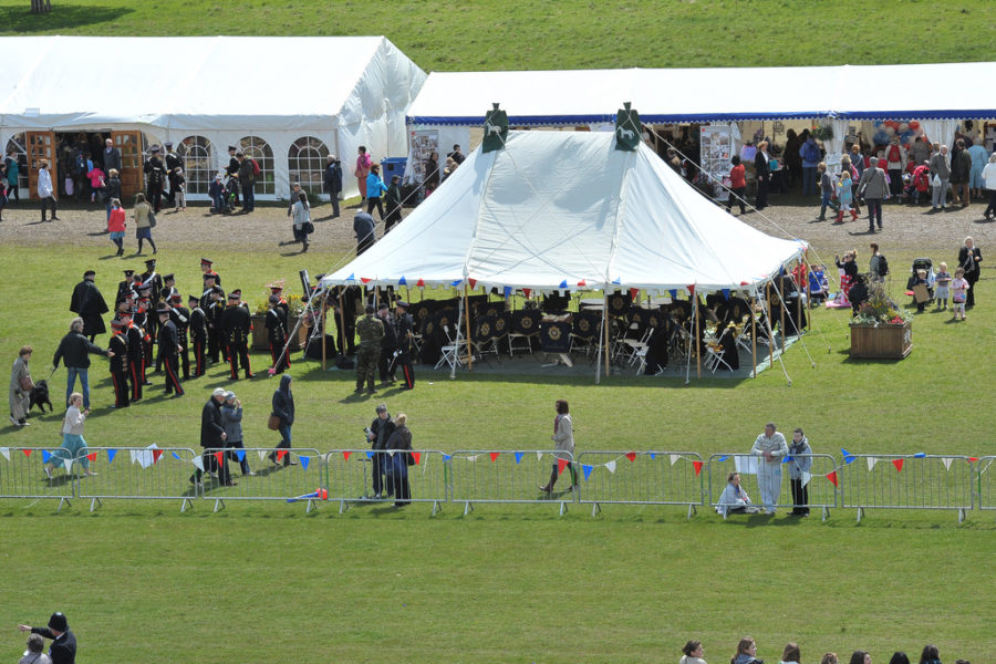 aerial shot of band tent