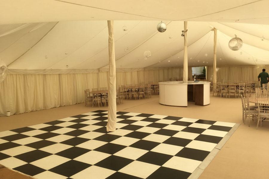 sherborne castle black and white dance floor baubles