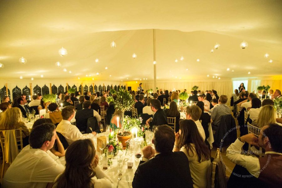 Dining tent with bauble lights