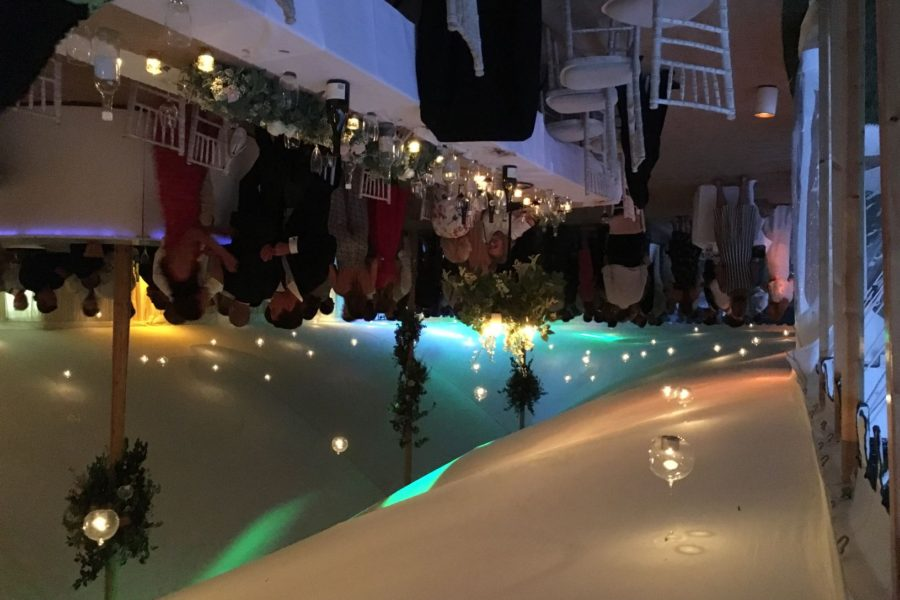 Bauble lights and ivory lining in 120' x 40' marquee with round bar. e